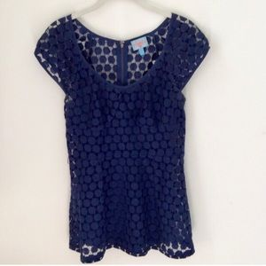 PLENTY BY TRACY REESE Lace Navy Blue Top Blouse
